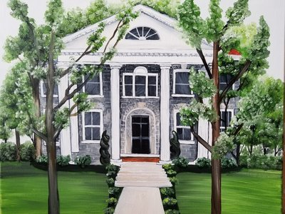 Custom house portrait painting of a private estate home in Frederick Maryland