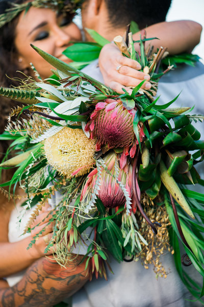 Yellow and pink hawaiian sourced protea wedding bouquet