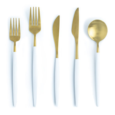 The Event Merchant Company Halo Gold and White Cutlery