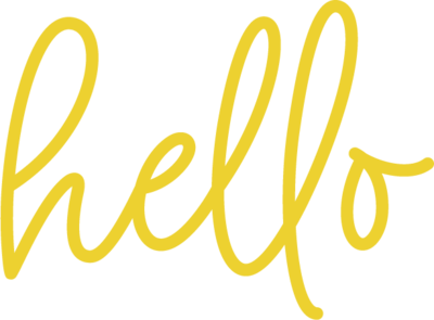 The word hello in yellow script.