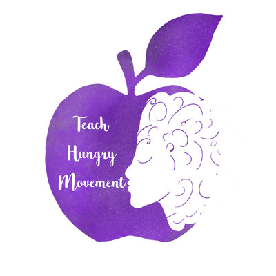 purple apple with Teach Hungry Movement written it, profile of woman's face in with curly hair
