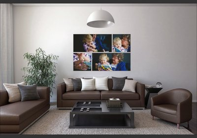 Custom wall art display with family photos