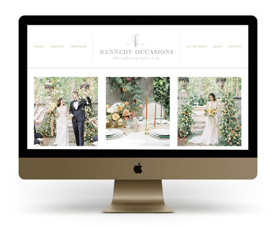 Showit Website Design Mock Up for Kennedy Occasions, a Nashville wedding floral designer and wedding planner