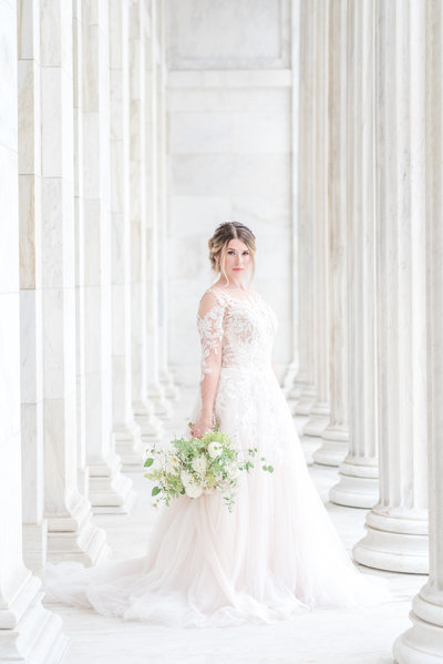 Toledo Museum of Art Wedding with Pronovias bridal gown and tall white columns