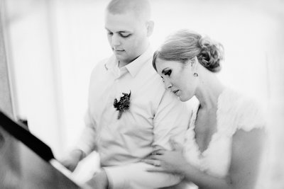 Nicole Corrine Black n White Bride and Groom with Piano Snowden House Waterloo Iowa romantic