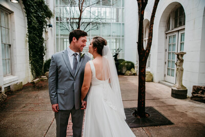 first look with bride and groom alabama wedding photographer