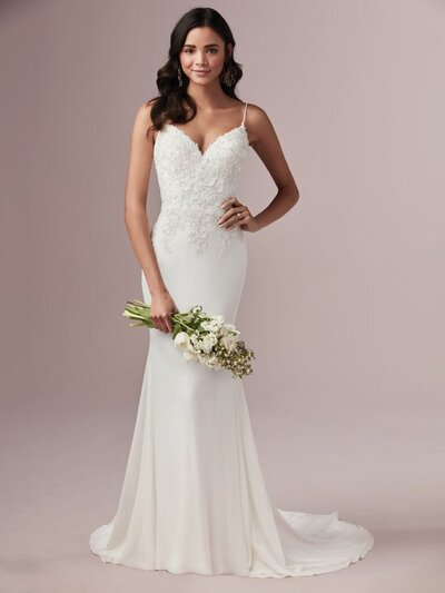 "Sheath Wedding Dress. A chic, romantic, and delicate gown. A true-blue classic. A flirty sheath wedding dress for brides of the ""less is more"" persuasion."