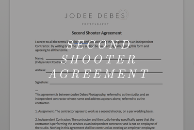 Second Shooter Agreement
