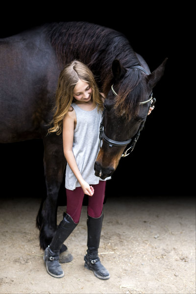 girl and horse black background photos at Serendipity Stables in Clarksville TN