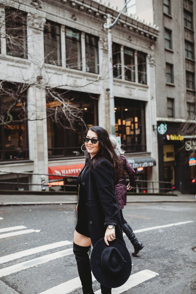 MIsty Damico, CEO Luxe Event Productions, Downtown Seattle in the Autumn outside W Seattle Hotel