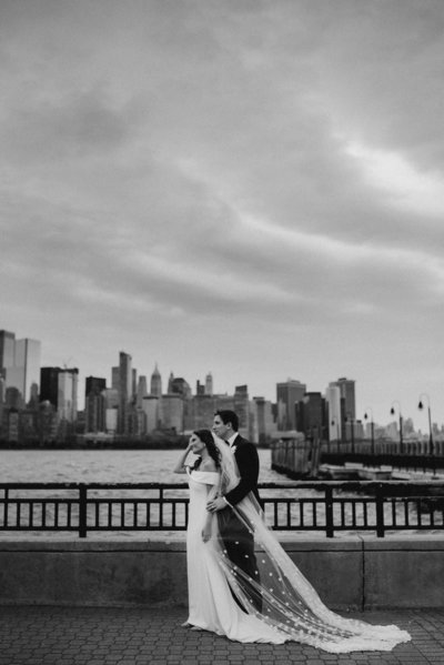 jersey city skyline wedding couple with embellished veil