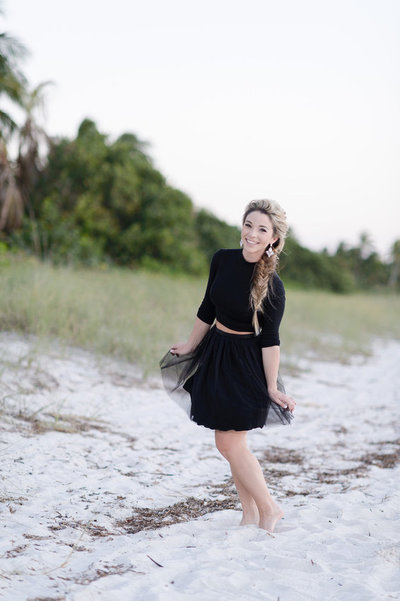 engagement outfit black tulle skirt
