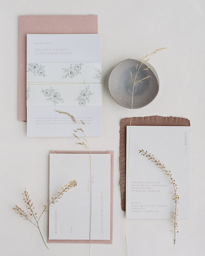 Dominique Alba minimal and modern wedding invitation suite with vellum wrap and floral illustrations