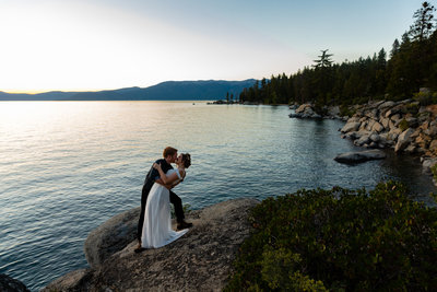 Adventure elopement at sunset in the forests surrounding Lake Tahoe. | Clarissa Wylde Photography