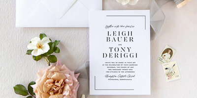 Leigh | Modern Black White Typography Wedding Invitation