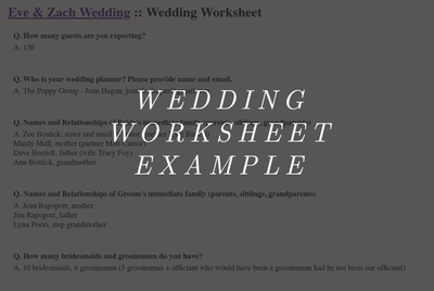 Wedding Worksheet Example Hover