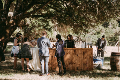 catering at an outside wedding