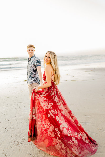 Beach engagement session at Torrey Pines Beach in San Diego, California