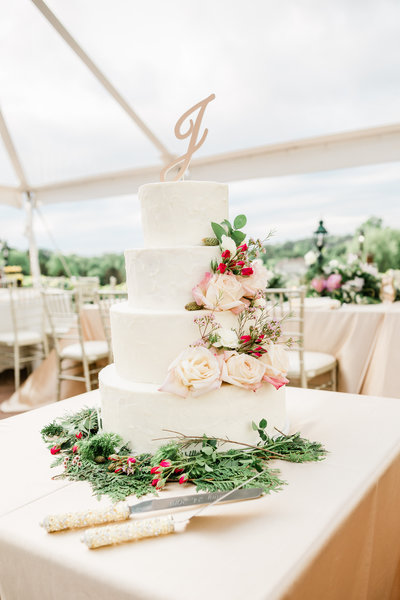 Wedding cake at Youngstown wedding planned by wedding planner Sirpilla Soirees