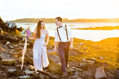 Sunset elopement on the coast of Maine