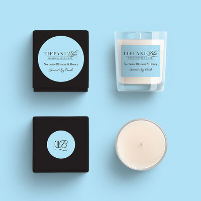 Tiffani Blue Candle Packaging by The Brand Advisory