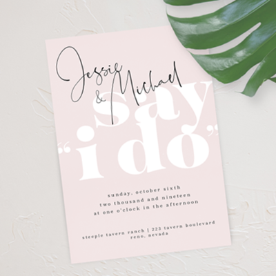 planning a casual, mod wedding? this wedding stationery suite would be perfect - featuring bold typography and a monochromatic color scheme that can be customized to your chosen hues