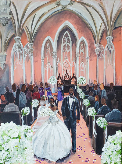Live wedding painting of a bride and groom walking up the aisle at First and Franklin Church in Baltimore Maryland