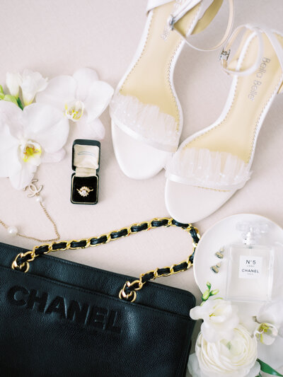 vintage chanel bridal details with bella belle shoes and orchids by dallas wedding photographer catie ann photography