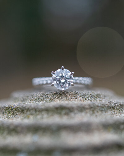 close up of an engagement ring