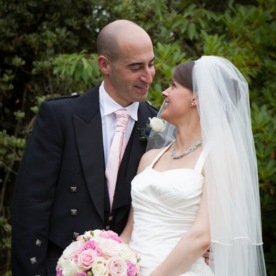 Half length portrait of Bride and Groom