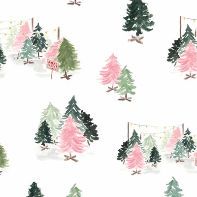 retro pink green christmas tree gift wrap