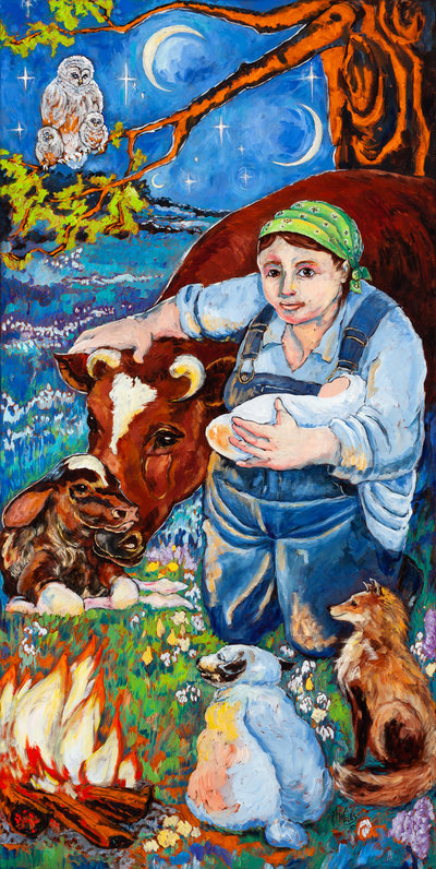 Oil painting of Bridget as farmwoman holding baby, embracing cos licking newborn calf, with owls and other farm animals in blue with owls on limb.
