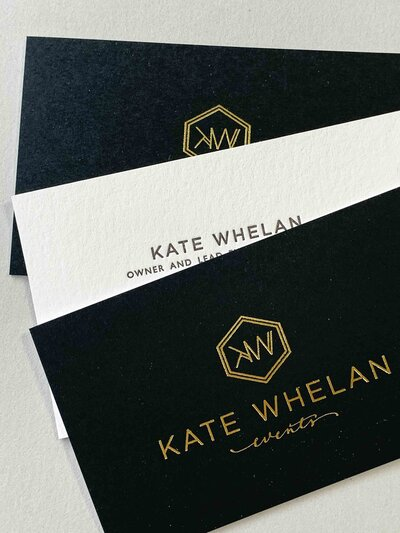black, white and gold foil letterpress business card