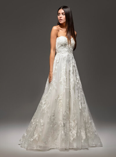 Tara Keely bridal gown - Ivory Alencon lace ball gown, strapless sweetheart neckline, natural waist, chapel train.