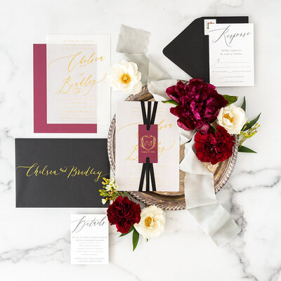 vellum burgundy gold foil wedding invitation savannah georgia monogram 25