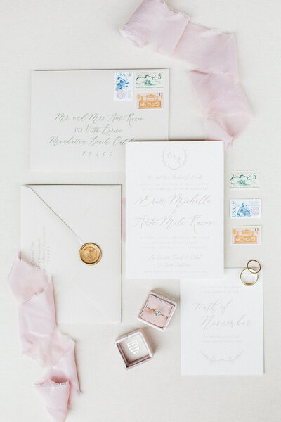 palm springs california wedding neutral and blush invitations wax seal vintage stamps 4