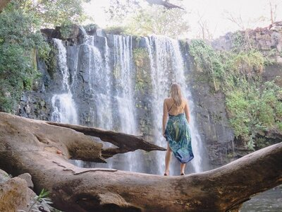 Deanna Cook at Llanos de Cortés Waterfall, Costa Rica