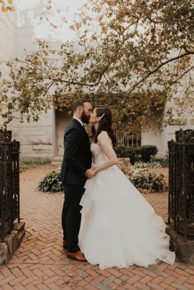 Bride and Groom kissing at Providence Intimate Wedding