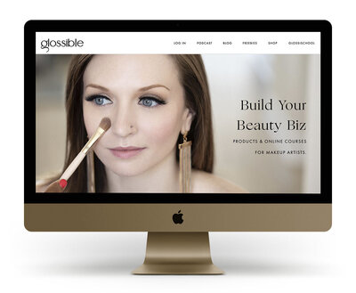 Showit Website Design Mock Up for Glossible by Sonia Roselli, offering courses and education for makeup artists