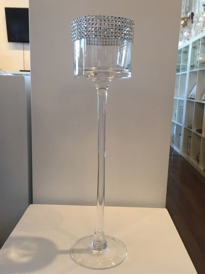 glass Footed vase with bling 15'' bowl size 3