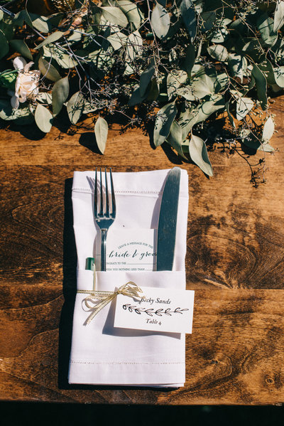 Place Settings on Farm Tables for a Back Yard Wedding in Gilroy