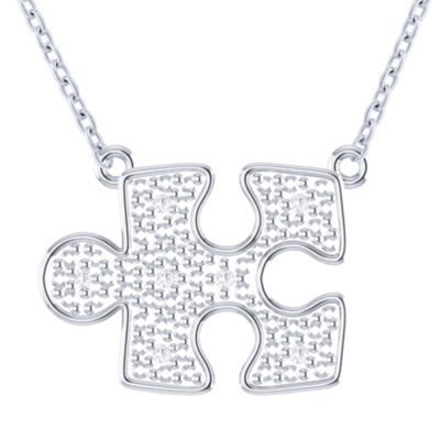 MINI 10K white gold pave diamond autism puzzle piece necklace