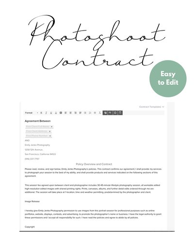 Photoshoot Contract Page