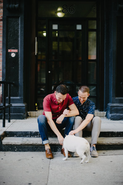 manhattan bulldog engagement photo same sex wedding