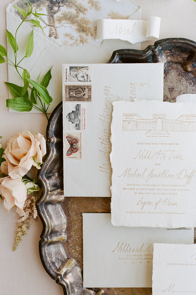 Florence semi-custom invitation suite, handmade paper, calligraphy, vintage stamps
