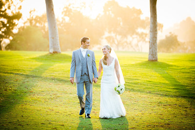 Sunset light glowing for this wedding couple at Lomas Santa Fe Country Club in San diego