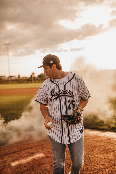 Baseball senior photos smoke bomb