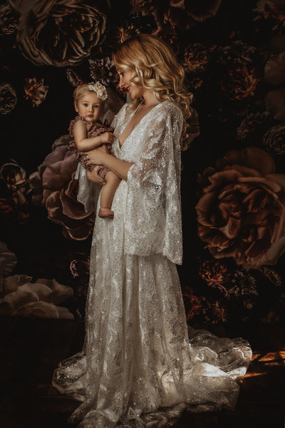 Mother and baby-Boho-Vintage Floral-Fine Art Portrait-Dallas