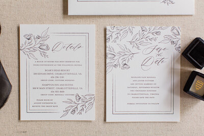 Wedding invitations with Hand Sketched Flowers