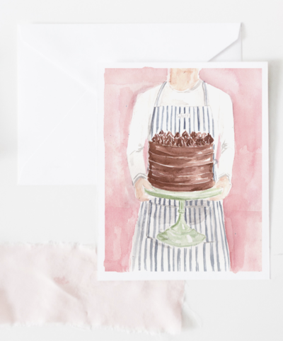 chocolate layer cake watercolor birthday card